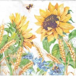 serwetka 33*33 K212 słoneczniki na biały
