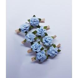 kwiatki klamerki błekitne ( jasne drewno