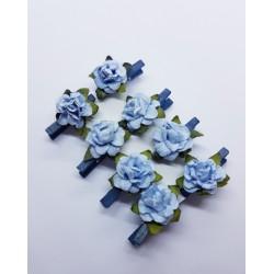 kwiatki klamerki błekitne (niebieskie drewno)