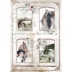 papier ryżowy A-4 DFSA4581 romantic horses 4 ramki