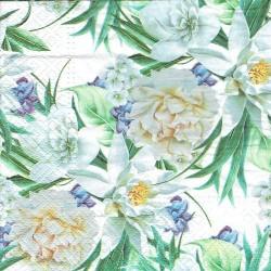 ***serwetka 33x33 K223 białe kwiaty