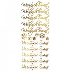 naklejki wesołych świąt złote 16 szt