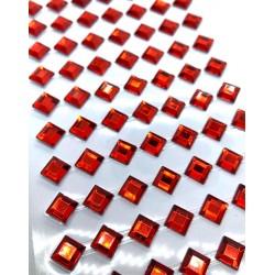 kryształki samop. kwadrat 6mm czerwień