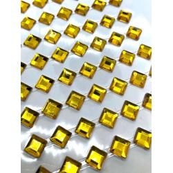 kryształki samop. kwadrat 6mm złoto