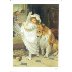 ***papier cienki A-5 3697 dziewczynka z psem