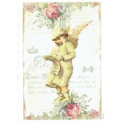 ***papier cienki A-5 2107 anioł z różami