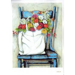 ***papier cienki A-5 349 krzesło z torbą kwiatów