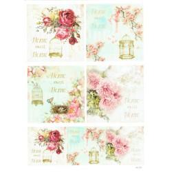 ***papier cienki A-4 1704 obrazki kwiaty, home swe
