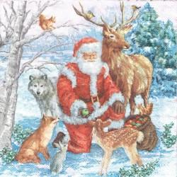 serwetka 33x33 BN280 Mikołaj z zwierzęta
