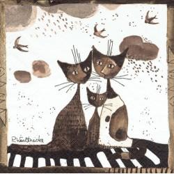 serwetka 33x33 Z92 rodzina kotów sepia