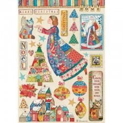 papier ryżowy A-4 DFSA4587 christmas anioł patchwo