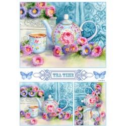 ***papier ryżowy 21*29,7 cm kwiatowy czajnik 21386