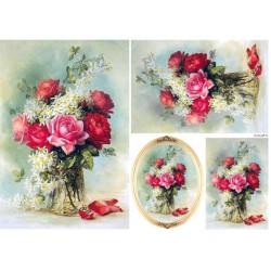 ***papier ryżowy 21*29,7 cm róże w wazonie 21487
