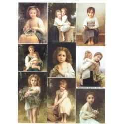 papier ryżowy A-4 R1889 portrety dzieci vintage