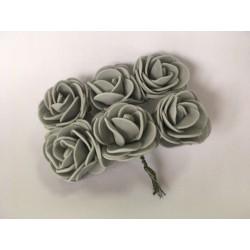 kwiaty z pianki szary / 6 szt