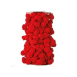 pompony na taśmie mix 3 m czerwona