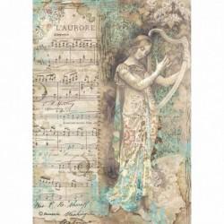 stamperia papier ryżowy A-4 DFSA4323 dama z harfa