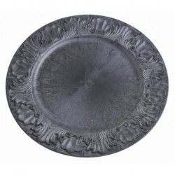 talerz dekoracyjny plast.czarna cyna 36 cm