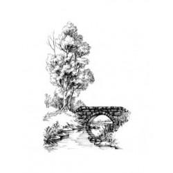 ***stempel gumowy 10*15 cm drzewo,mostek