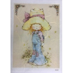 ***papier ryżowy A-6 1527 dziewczynka kapelusz