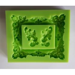 ***odlewy silikonowe ramka +2 ornamenty 9,5*11,5 c