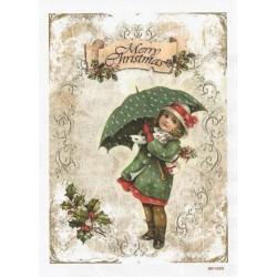 ***papier ryżowy A-6 1950 dziewczynka z parasolem