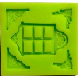 ***odlewy silikonowe okno+narożniki 6,5*7 cm