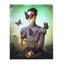 ***papier cienki A-5 4198 kobieta z motylami