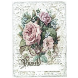 ***papier cienki A-5 3852-3 róża w koronce