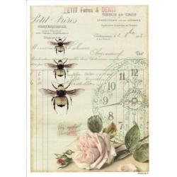 ***papier cienki A-5 4212-3 pszczoły, róża