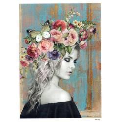 ***papier cienki A-5 4703 dziewczyna  różowe kwiat