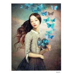 ***papier cienki A-5 4199 dziewczyna, motyle