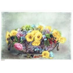 ***papier cienki A-5 3459 kwiaty w koszu