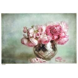***papier cienki A-5 1638 kwiaty wazon srebrny