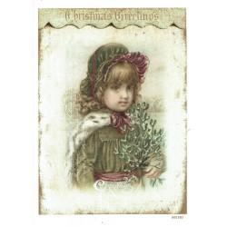 ***papier cienki A-6 1881, dziewczynka z jemiołą