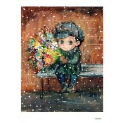 ***papier cienki A-5 2150, chłopiec z kwiatami