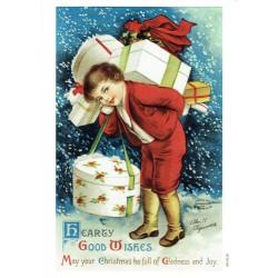 ***papier cienki A-5 1040, chłopiec z prezentami