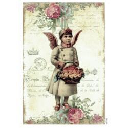 ***papier ryżowy A-6 2106 dziewczynka z koszem róż