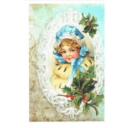 ***papier ryżowy A-6 1957 dziewczynka w ramce BN