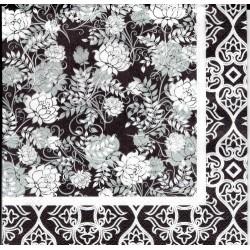 ***serwetka 33*33 I 105 tło czarno białe kwiaty