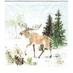 ***serwetka 25*25 BN 224 Łoś w lesie