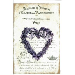 ***papier cienki A-5 1867 lawendowe serce,napisy