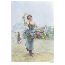 ***papier cienki A-5 3485 kobieta z koszem kwiatów