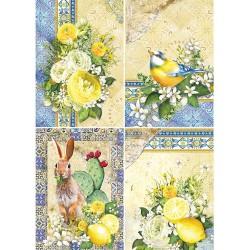 cadence papier ryżowy A-4 CBR096 mozaika, kwiaty ż
