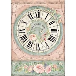 ***papier ryżowy A4 zegar, róże DFSA4444