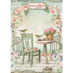 ***papier ryżowy A4 DFSA4449 stolik house of roses