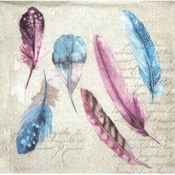 ***serwetka 33*33 I114 pióra niebiesko-różowe