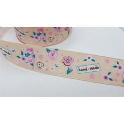 wstążka rypsowana kwiaty hand-made ecru 2,5cm