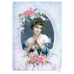 ***papier cienki A-5 2390-4 dama w fioletowej ramc