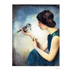 ***papier cienki A-5 4197 dziewczyna z ptakiem